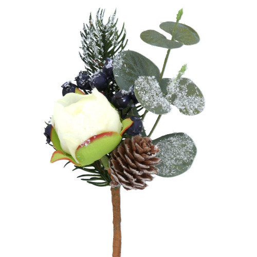 A small artificial bundle of fir, pinecones, eucalyptus, blue berries and a peony, with added faux snow.