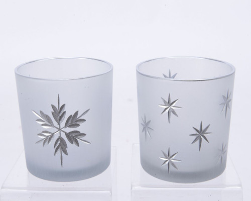 Frosted Etched Tealight Holder, Small, Two Designs