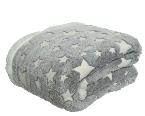 Luxurious Grey and White Star Blanket, lined