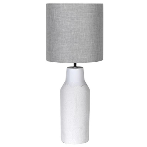 White Ceramic Lamp With Grey Shade