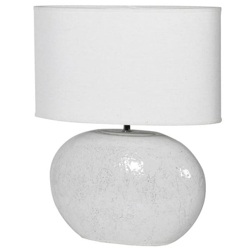 oval white lamp with shade