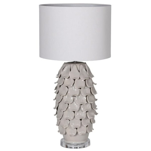 A gorgeous detailed ceramic grey petal lamp, with a white linen shade.