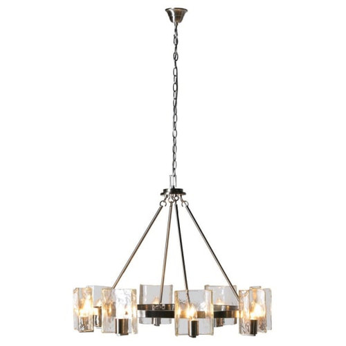 A stunning large silver coloured 8 arm ceiling light. perfect for brightening up any room. Dimensions: H:62 Dia:82 cm.