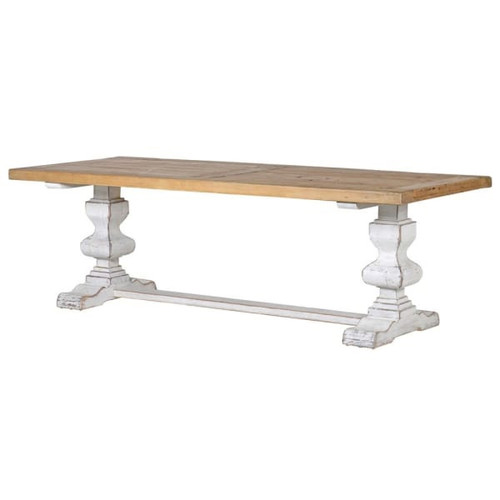 A stunning large white distressed base pine dining table. a beautiful statement piece for your kitchen/dining room.
