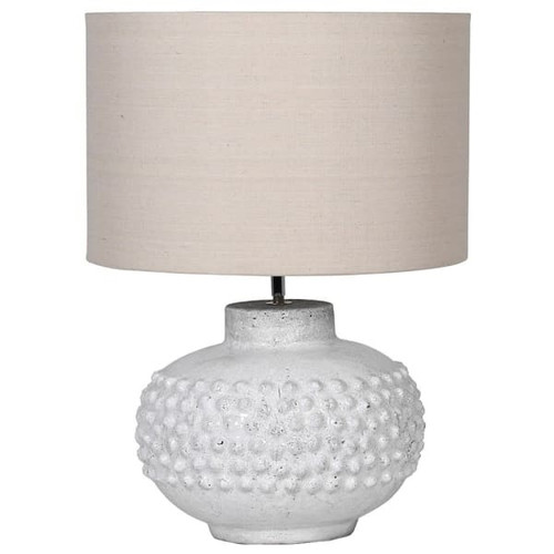 This stunning white crackle glazed lamp with a 3d bobble effect and a cream linen shade is the perfect centerpiece for a table or a sideboard. Dimensions: H:59 Dia:42 cm. Bulb type: E27 Max Wattage: 60 watt