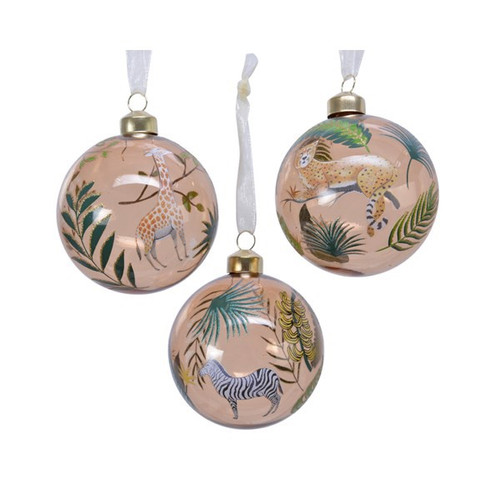 A selection of stunning glass baubles with a fun, tropical animal print. Available in 3 different designs; Zebra, Leopard, Giraffe