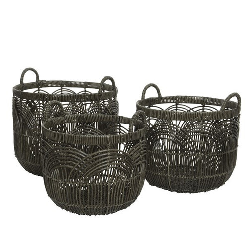 A round grey poly rattan basket, the material is ideal for indoor plants or towels in the bathroom because it is durable and waterproof yet pleasing on the eye.