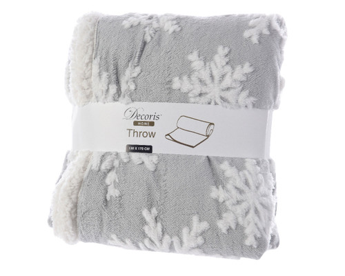 Luxurious Grey and White Snowflake Blanket, lined