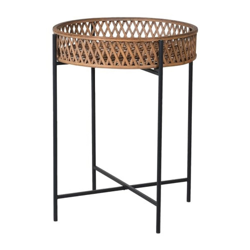 A gorgeous rattan tray side table with iron black legs.