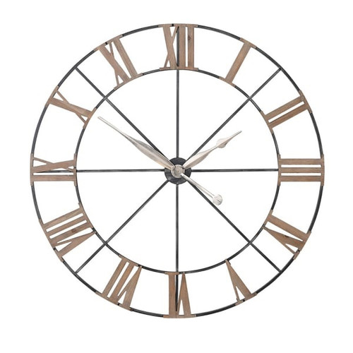 A large elegant metal and fir wood wall clock.