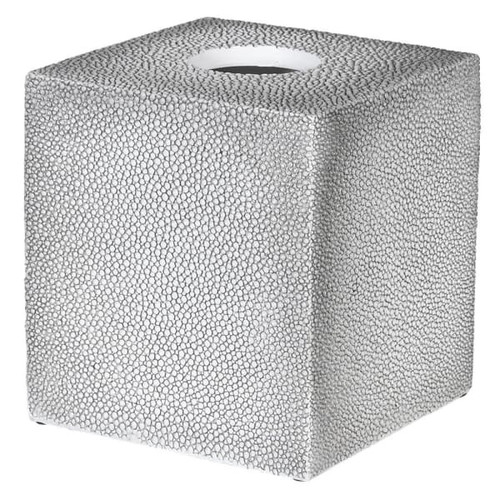 A lovely faux shagreen effect resin tissue box cover. Dimensions: H:13 W:13 D:13 cm.