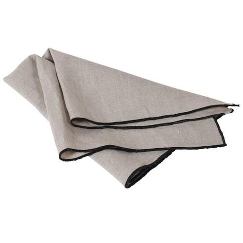 a set of four, elegant black edge linen napkins. Dimensions:W:47L:47cm.