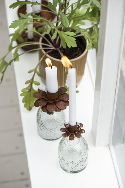 This delicate and pretty rusted handmade flower sits perfectly in our small mini vases. candle holder. Dinner candle. Taper candle