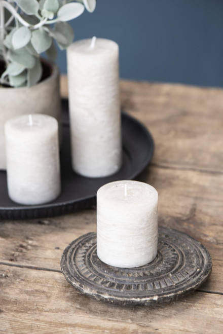 rustic pillar candle in 4 sizes, colour fog