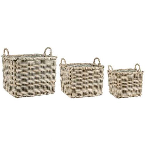 rectangular basket, rattan basket