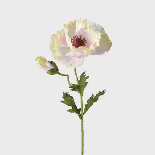 realistic pale pink poppy with an authentic flocking to the green stem to represent the real feel of a poppy