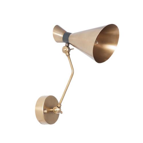 stylish brushed brass conical shaped wall light