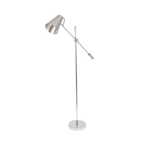 polished nickel conical shaped floor lamp