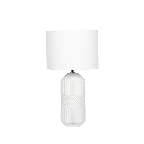 White Embossed Table Lamp , inc shade
