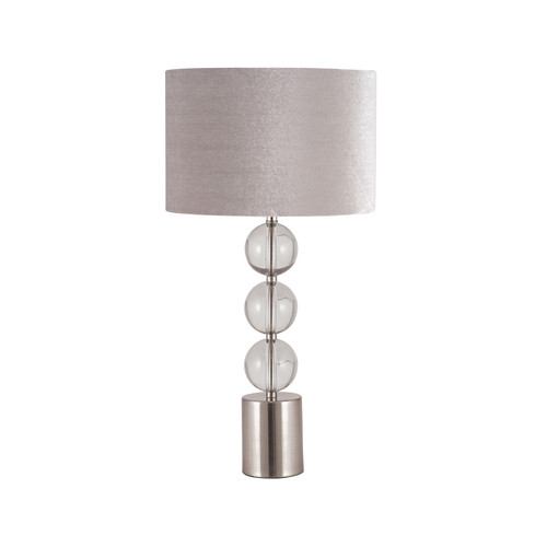 Three clear glass globes and brushed silver metal make this table lamp
