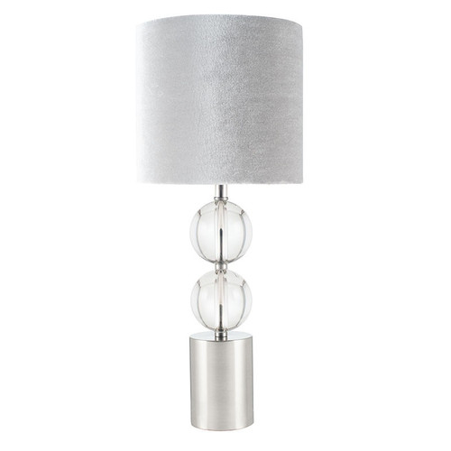 grey. Two clear glass globes and brushed silver metal make this table lamp a beautiful statement piece for any room