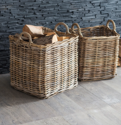 woven willow basket with handles