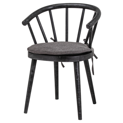 scandi inspired solid wood curved back dining chair