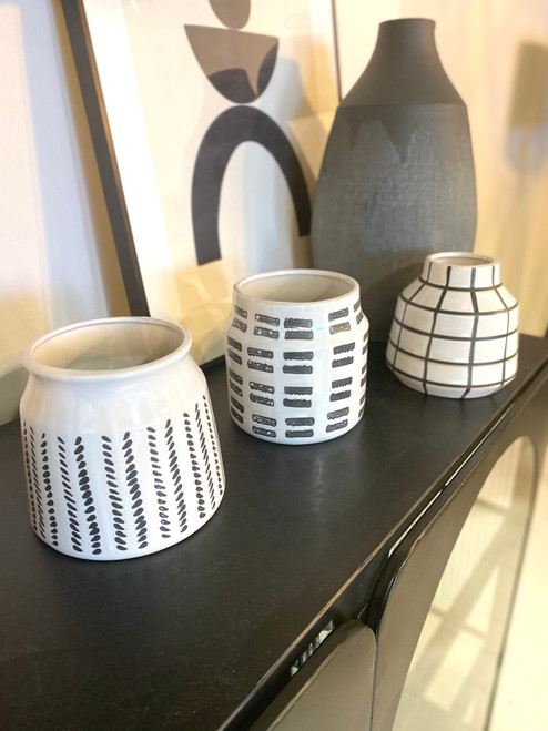 black and white pots, geometric