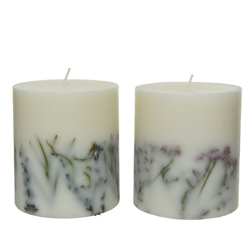Dried Flower Wax Pillar Candle, Scented