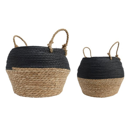 Grass Basket, Black and Natural, Two Sizes