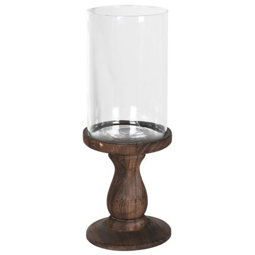 Dark Wood And Glass Hurricane Lamp