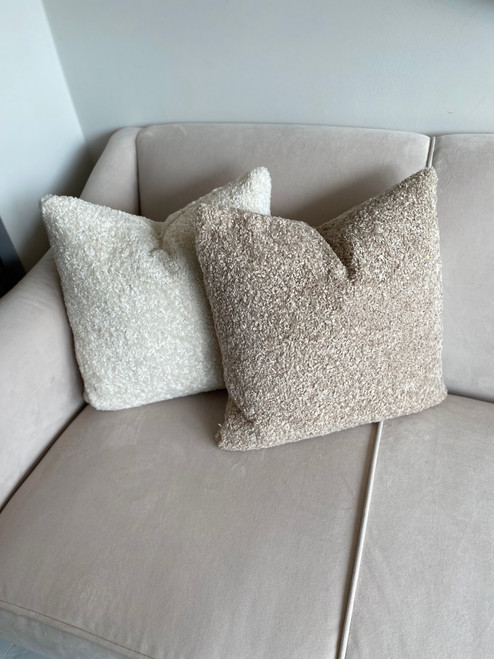 boucle cushion in taupe