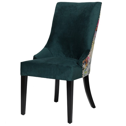 floral and plain dining chair with designers guild fabric