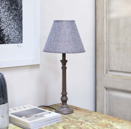 antique washed dark charcoal elegant table lamp with a grey linen shade