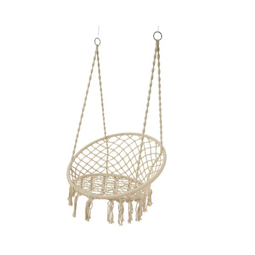 polyester cotton macrame single swinging chair cream