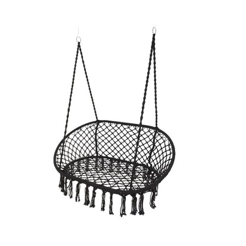 Cotton black macrame double swinging chair
