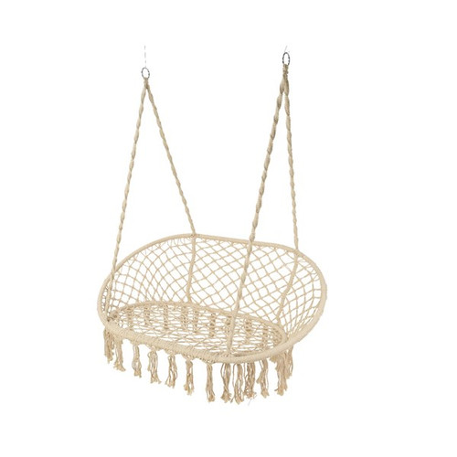polyster cotton cream macrame double swinging chair