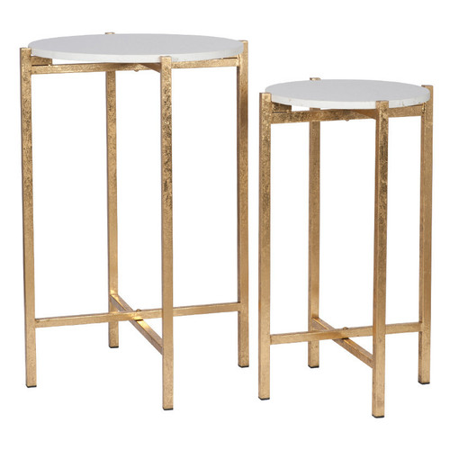 Antique Gold Metal & Marble S/2 Folding Tables