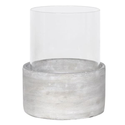 Glass Hurricane with Cement Base, 2 sizes