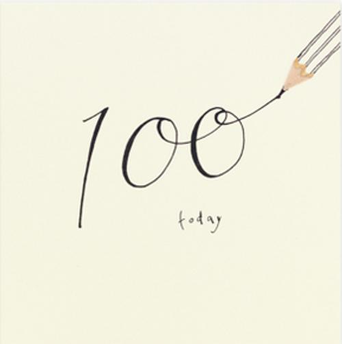 100th birthday card , card, pencil shavings