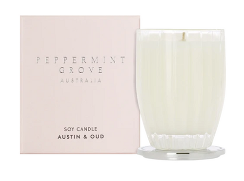 A fragrant soy candle in the scent austin and oud