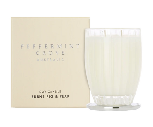 A fragrant soy candle in the scent burnt fig and pear