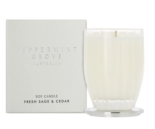 A fragrant soy candle in the scent fresh sage and cedar