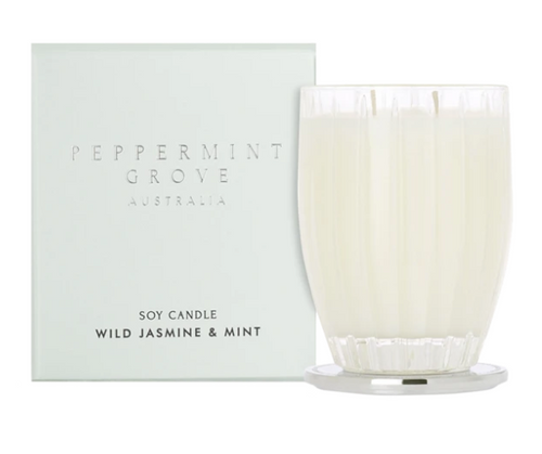 A fragrant soy candle in the scent wild jasmine and mint