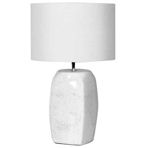 Oblong Terracotta White Lamp with Shade