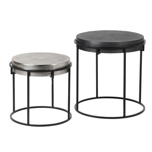 Set of 2 Black and Nickel Tables