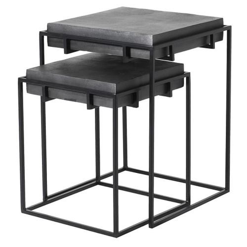 nest of table. Steel. Black tables