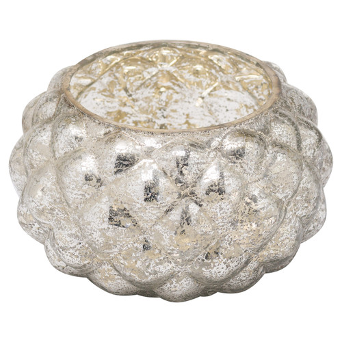 An elegant antique silver candle votive, looksstunning when styled with silvers and whites.