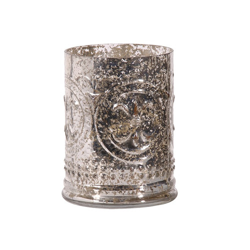 An antique silvered lantern / vase. Style with fairy lights for a dappled glow. Looks beautiful style with twigs and white flowers.