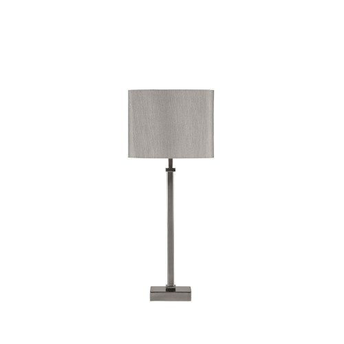 Satin Silver Metal Candlestick Table Lamp with Shade